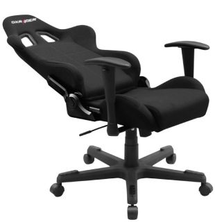 The best DXRacer chair review shows a tilted backrest of the FD01/N game chair model.
